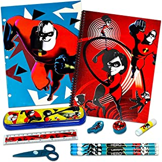 Disney Pixar The Incredibles School Supplies Value Pack -- Folders, Notebook, Pencils, Pencil Sharpener, Eraser, and More