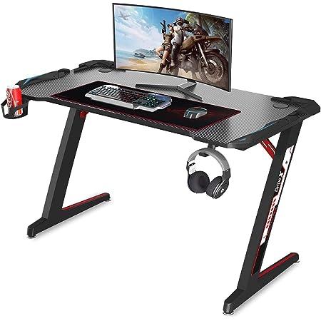 Dripex Bureau Gaming Bureau Gamer PC Informatique Table de Jeu Pro 113 cm Bureau d'Ordinateur avec Porte-Gobelet et Porte-Casque
