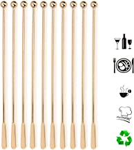 Stainless Steel Coffee Beverage Stirrers Stir Cocktail Drink Swizzle Stick with Small Rectangular Paddles(10Pcs Gold Straight Rod)