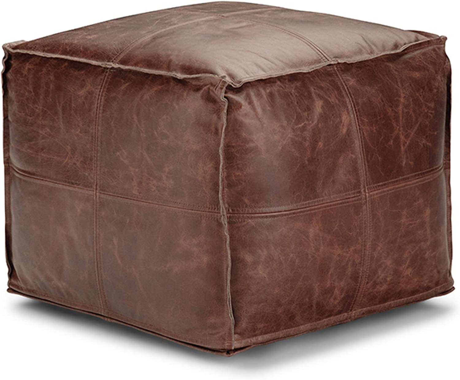 In a popularity SIMPLIHOME Sheffield Square Poufs 18 inch Brown Seattle Mall