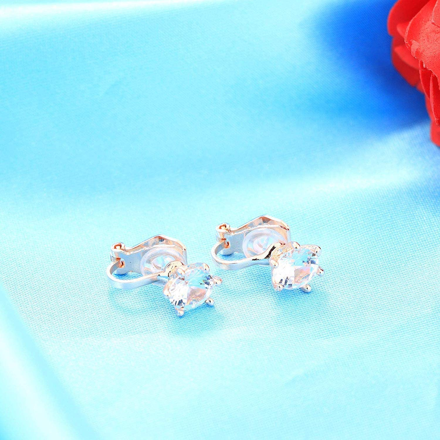 SAILIMUE 4 Pairs Clip Earrings Wedding Sets for Women Sparkly Cubic Zirconia Non Pierced Clip On Earrings
