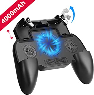 Mobile Game Controller with 4000mAh Power Bank and Cooling Fan, PUBG Mobile Controller Gamepad L1 R1 Aim and Shoot Trigger, Joystick Remote Grip for 4.7-6.5