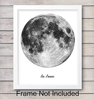 La Luna - Full Moon Wall Art Print - Ready to Frame (8x10) Photo - Perfect Easy Gift for Astronomy Enthusiasts - Great For Bedroom, Classroom and Home Decor