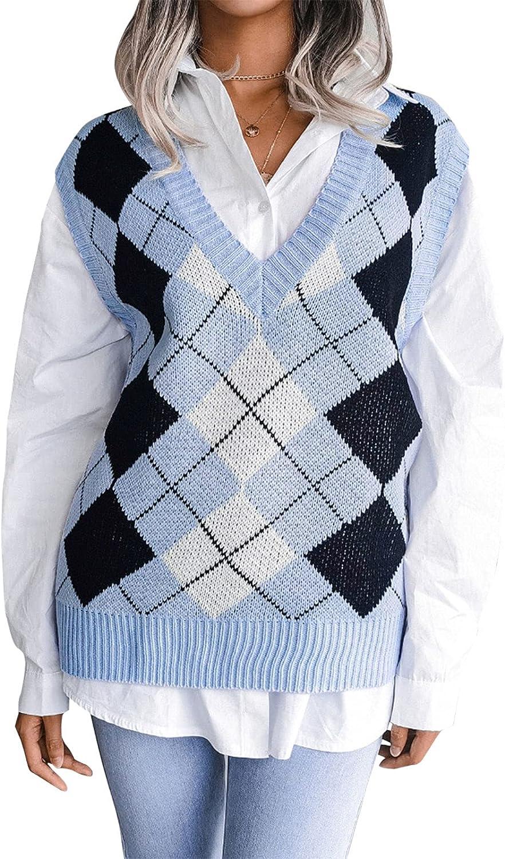 Women V Neck Knit Sweater Vest Y2K Sleeveless Knitwear Preppy Style Vintage Argyle Tank Tops Fall Streetwear