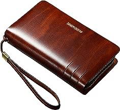 Teemzone Mens Genuine Leather Clutch Bag Handbag Organizer Checkbook Wallet Card Case