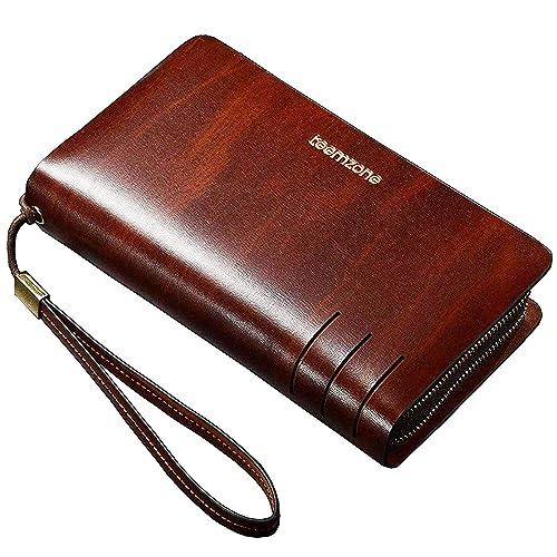 00cbd61fa Teemzone Mens Genuine Leather Clutch Bag Handbag Organizer Checkbook Wallet  Card Case
