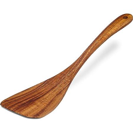 Jilla-hla Wooden Spatula Wooden Turner Acacia Wood,Long Handle Flat Frying Spatula Handmade for Kitchen Cookware (Frying Spatula)