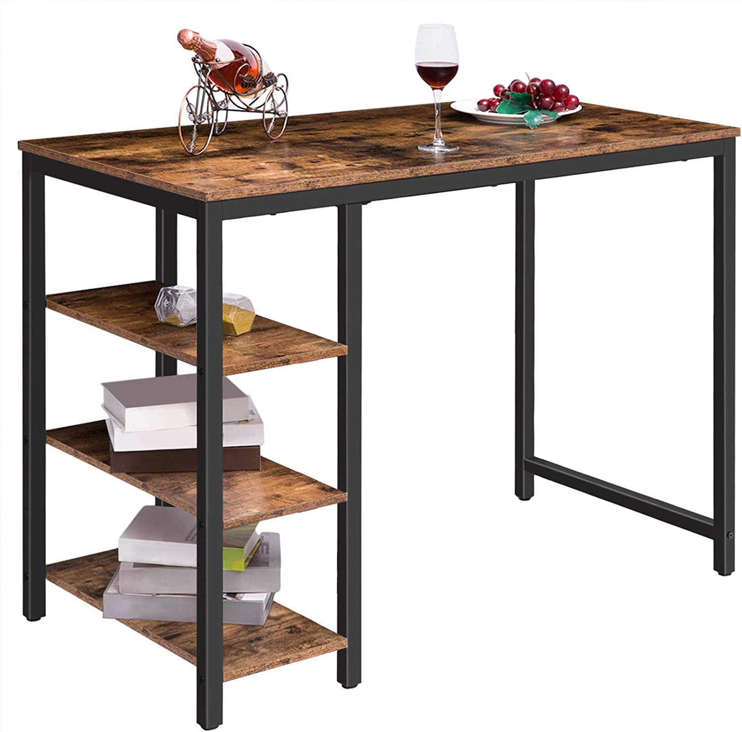HOOBRO Bar Table Kitchen Table with 9 Shelves Rectangular Dining Table with  Metal Frame 9 x 9 x 9 cm Sturdy Easy Assembly for Living Room Dining ...