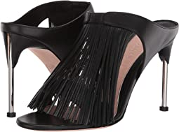 Leather Sandal Slide with Fringe Detail