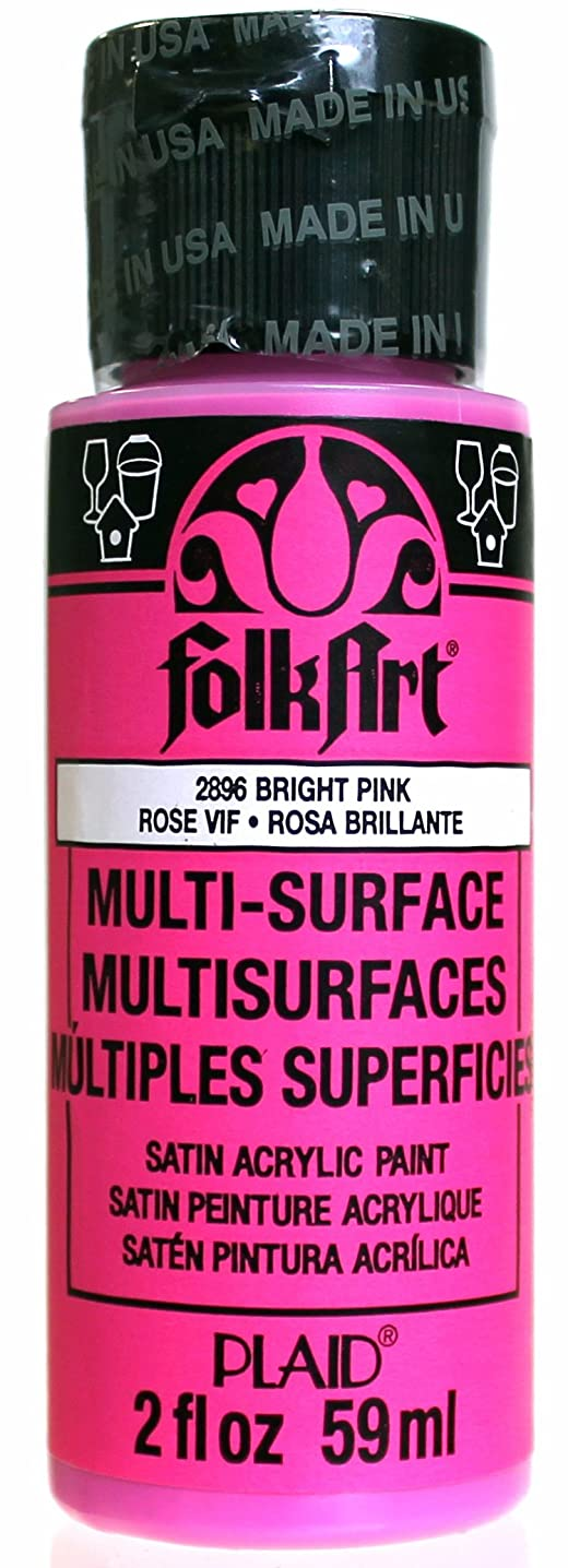 FolkArt Multi-Surface Paint in Assorted Colors (2 oz), 2896, Bright Pink