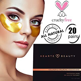 24K Gold Under Eye Patches | Brightening Under Eye Pads | Collagen Eye Masks | Under Eye Bags Treatment For Dark Circles | Cruelty Free Vegan & Professional Grade | 20 Pairs by Hearte Beauty