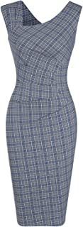 MUXXN Women's Vintage Style Sleeveless Plaid Pattern Work Pencil Dress