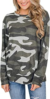 YIBOCK Women's Camo Long Sleeve Loose Fit Casual Sweatshirt Pullover Tops Shirts