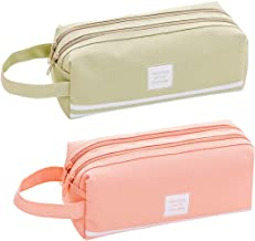 2 Pack Large Capacity Canvas Pen Pencil Storage Case, Double Zipper Student Stationery Pouch Pen Bag, Multi Compartments Pen Holder for School, Office (Pink & Green)