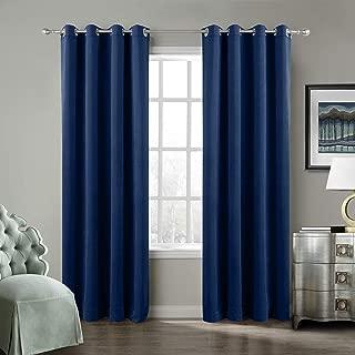 ChadMade Blackout Lined Premium Velvet Curtain Sapphire Blue 100Wx84L Inch (1 Panel), Eyelet Grommet for Livingroom Bedroom Theater Studio, Birkin Collection