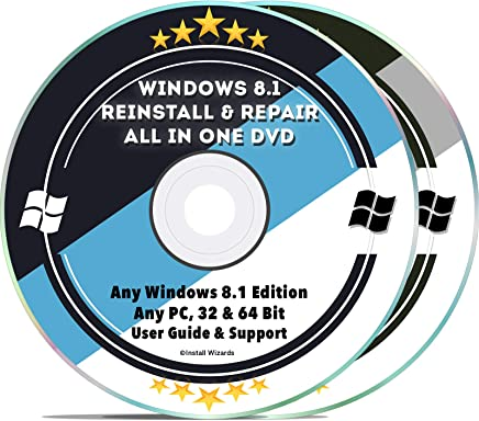 Windows 8.1 Compatible Repair & Reinstall Disc Set: Recovery Reboot Restore Fix Factory Reset - Basic or Professional 32 & 64 Bit PC Computer + Drivers Install 2019 (2 DVD Set)