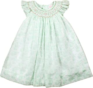 Petit Ami Baby Girls' Hand-Embroidered Floral Voile Smocked Dress, Mint