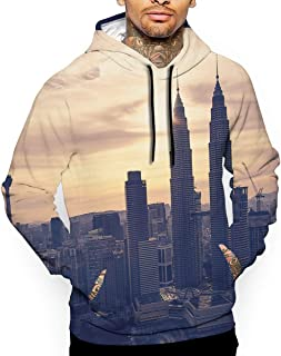 New York Sunset Buildings 3D All Printed Men's Hooded Pullover with Pocket Casual Hoodies Sweatshirt