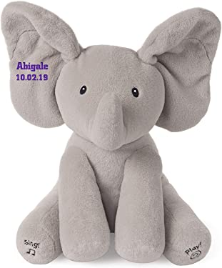 GUND Personalized Baby Animated Flappy The Elephant Plush Toy (Embroidered)