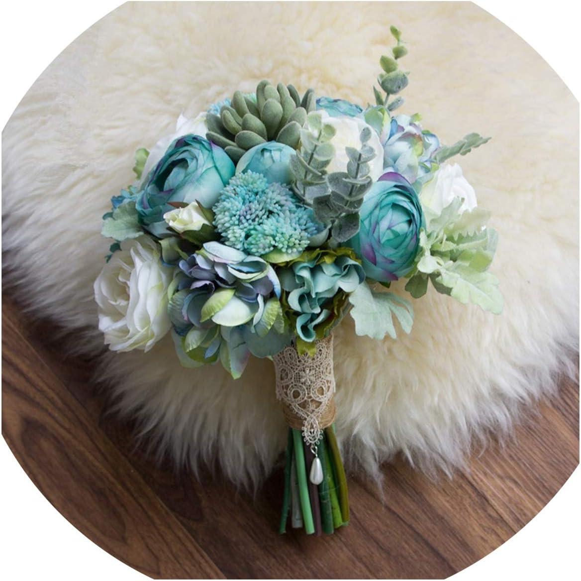 Amazon Com Paramise Ins Blue Bride Bouquet Beach Wedding Flower Bouquet Artificial Succulent Plant White Bridal Brooch Holding Flowers 2019 Tiffany Blue Kitchen Dining