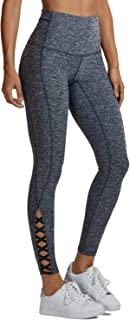 Women's Cotton Feel Squat Proof Sports Pants 4-Way-Stretch Workout Yoga Leggings-25 Inches