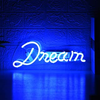 Blue Dream Glass Neon Signs Beer Bar Club Bedroom Glass Neon Lights Sign for Office Hotel Pub Cafe Wedding Birthday Party Man Cave Neon Light Handmade Art Wall Decoration Night Light