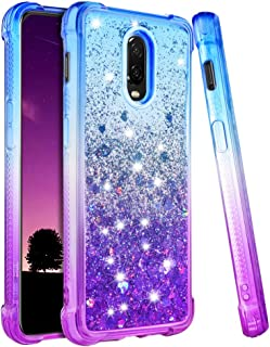 Ruky OnePlus 6T Case, Gradient Quicksand Series Glitter Flowing Liquid Floating Soft TPU Bumper Cushion Reinforced Corners Protective Women Girls Cute Case for OnePlus 6T (2018) (Blue Purple)