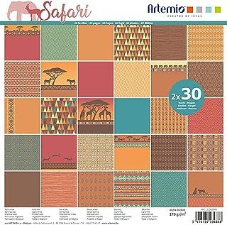 Artemio Bloc de 60 Feuilles de Papier Scrapbooking 30x30 cm Safari