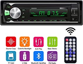 Single Din Car Stereo with Bluetooth, Car Audio Receiver with Source Copy Function, Multicolor Backlight, 1 Din FM Radio MP3 Player Support USB/TF/AUX Handsfree Calling