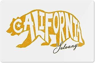 Lantern Press Solvang, California - Bear Outline - Typography 94731 (6x9 Aluminum Wall Sign, Wall Decor Ready to Hang)