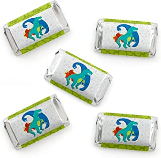 Roar Dinosaur - Mini Candy Bar Wrapper Stickers - Dino Mite T-Rex Baby Shower or Birthday Party Small Favors - 40 Count