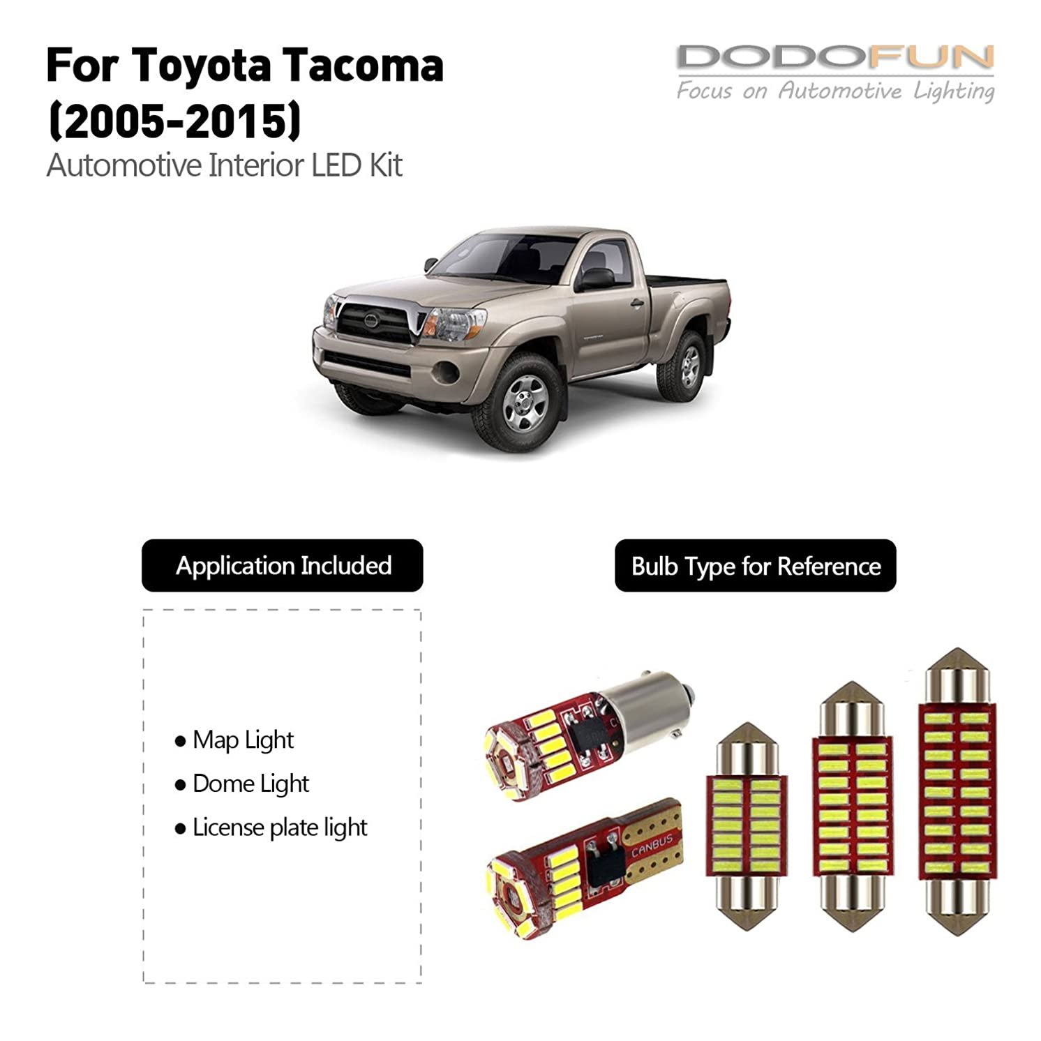 DODOFUN Deluxe Interior LED Light Kit for 2005-2015 Toyota Tacoma (5-pc Bulb 6000k)