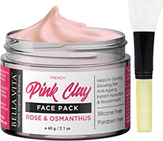 Bella Vita Organic French Pink Clay Face Pack For Glowing Skin, Normal To Oily Skin, 60g