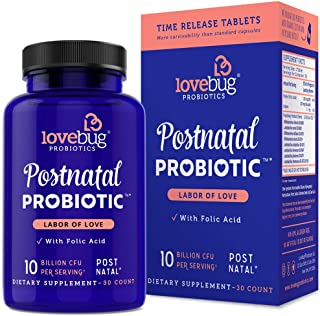 LoveBug Probiotics Daily PreNatal Probiotic Supplement, Labor of Love, Recommended with Prenatal Vitamins for Pregnant & Breastfeeding Moms, 30 Tablets, Extra Folic Acid Formula