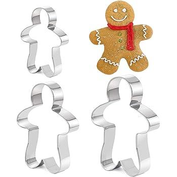 TRIXES 3 Piece Ginger Bread Man Cookie, biscuiterie, pâtisserie Cutters en Acier Inoxydable