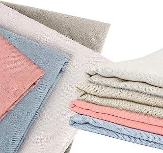 4 Pezzi di Tessuto di Lino Naturale, XCOZU Tessuto di Lino Naturale per Ricamo, Ricamo a Punto Croce, 50 cm, Tessuto di Li...