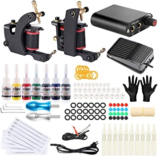 Stigma 2 Pro Coil Tattoo Kits Guns Aluminiun Alloy Grips 7Inks Professional Power Supply for Liner and Shader TK-ST202