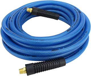 "Milton (1623-1) FLEX HOSE Lightweight braided ""polyurethane"" hybrid air hose 25 ft. x 3/8"" ID, 200 PSI with ¼"" MNPT brass fitting , Blue"