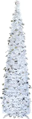 Oubomu White Christmas Tree, POP UP Collapsible Slim Pencil Tree with Tinsel, Artificial Xmas Trees for Christmas, Halloween,
