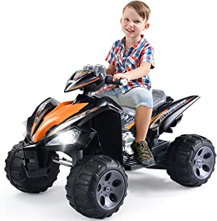 Costzon Kids Ride On ATV Quad, 12V Battery Power Electric Car Vehicle, 4 Wheel Toy Car for Toddlers Boys & Girls (Black)
