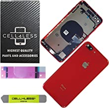 CELL4LESS Back Housing Assembly Metal MidFrame w/Major Components Pre-Installed Including Buttons for iPhone 8 Plus (Red)