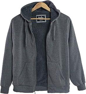 dea3cc72bb858 Leehanton Men s Sherpa Lined Heavyweight Fleece Hoodies Full Zip Big   Tall  Sweatshirts Jackets Size S