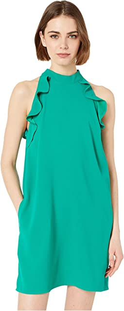 Necks Question Crepe Dress with Ruffle