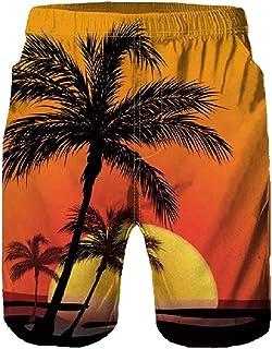Howely Men Loose Pockets Beach Tropical Print Half Pants Swimwear Shorts