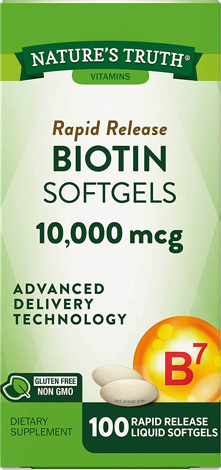 Biotin A surprise price is realized 10000mcg 100 Softgels Supplement Free Gluten safety Non-GMO