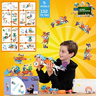 THE ORIGINAL YOUNG ENGINEER STEM TOYS For Building, Construction & Early Learning 132 Pc Set Fun and Creative Educational Models for Kids Ages 7,8,9,10,11-Year-Old boys girls, Includes Toolbox Storage