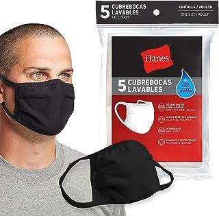 Hanes Cubrebocas Lavable Con 3 Capas de Algodón Paquete de 5 Piezas Color Negro, Unitalla