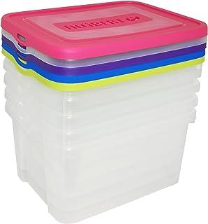 CURVER | Lot de 5 Boîtes de rangement Handy box 25L, Bleu / Rose/ Violet/ Jaune / Vert, 44,8 x 34,5 x 45 cm, Plastique