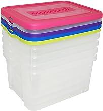 Curver | 5 stuks opbergdozen voor mobiele telefoon 25 liter blauw / roze / paars / geel / groen 44,8 x 34,5 x 45 cm kunststof