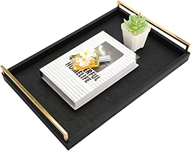 MorNon Decorative Trays Large Food Trays PU Leather Tray Coffee Tables with Gold Stainless Steel Handle for Bars, Living Room